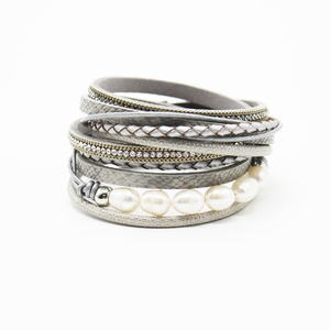 Newest designs magnetic clasp gift popular leather handmade wrap bracelet with pearl