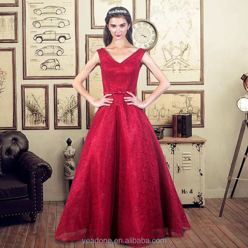 Red Sleeveless V-Neck Tulle Evening Dress A Line Formal Occasion Gown