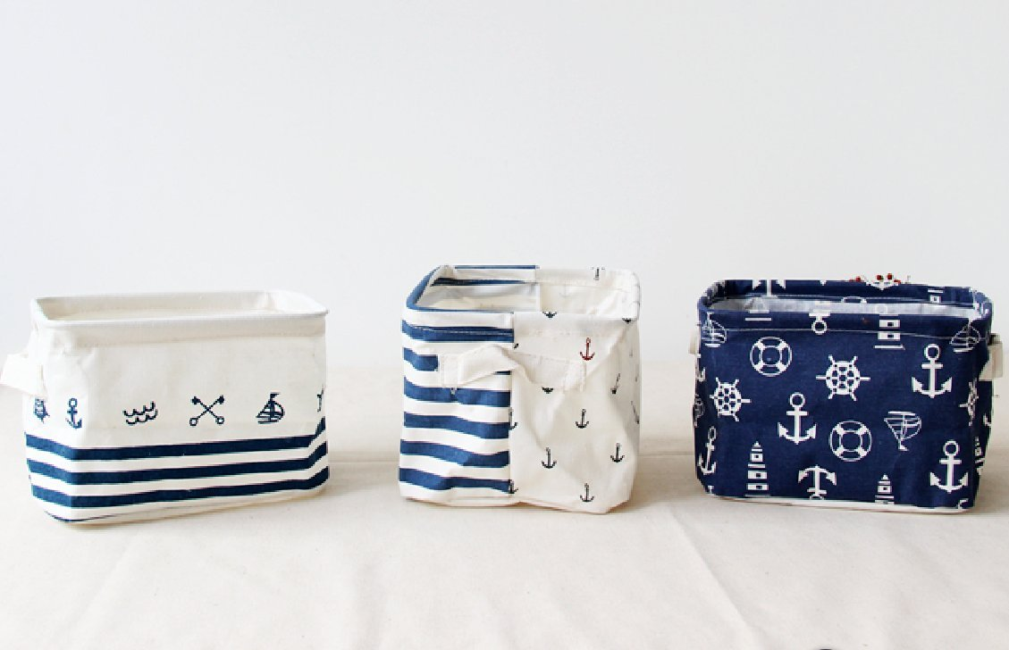 Get Quotations · AOBOR Foldable Cotton Blend Linen Storage Bins With  Handles Navy Blue Anchor Nusery Storage Baskets Waterproof
