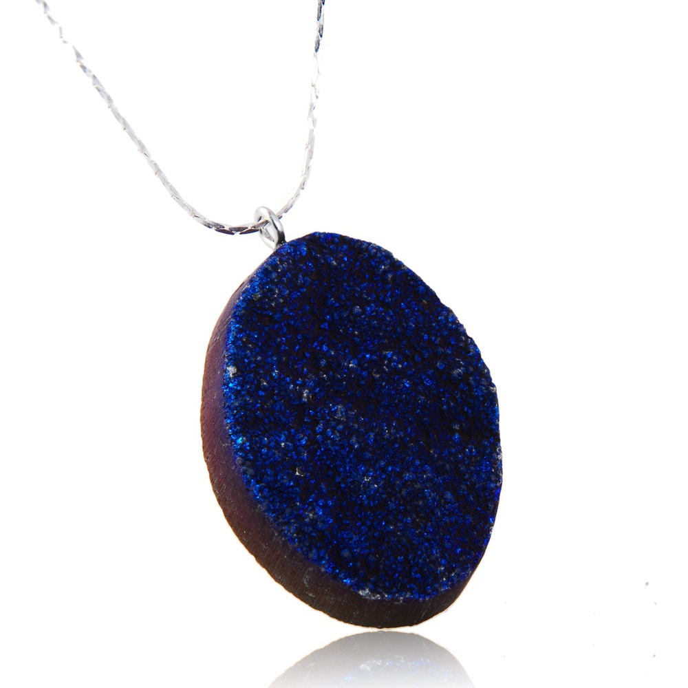 Natural Raw Ore Color Agate Crystal Druzy Pendant for DIY Jewely Necklace