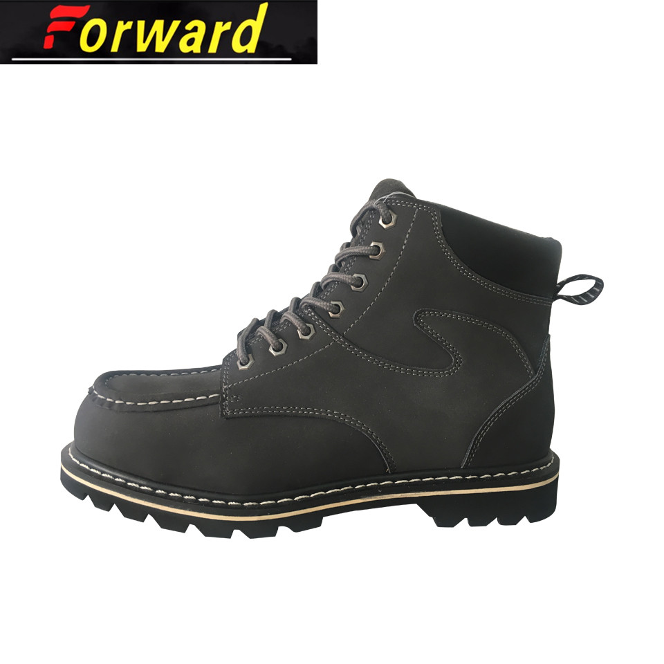 Moccasin Genuine Leather Goodyear Welt Steel Toe Safety Boots For Men