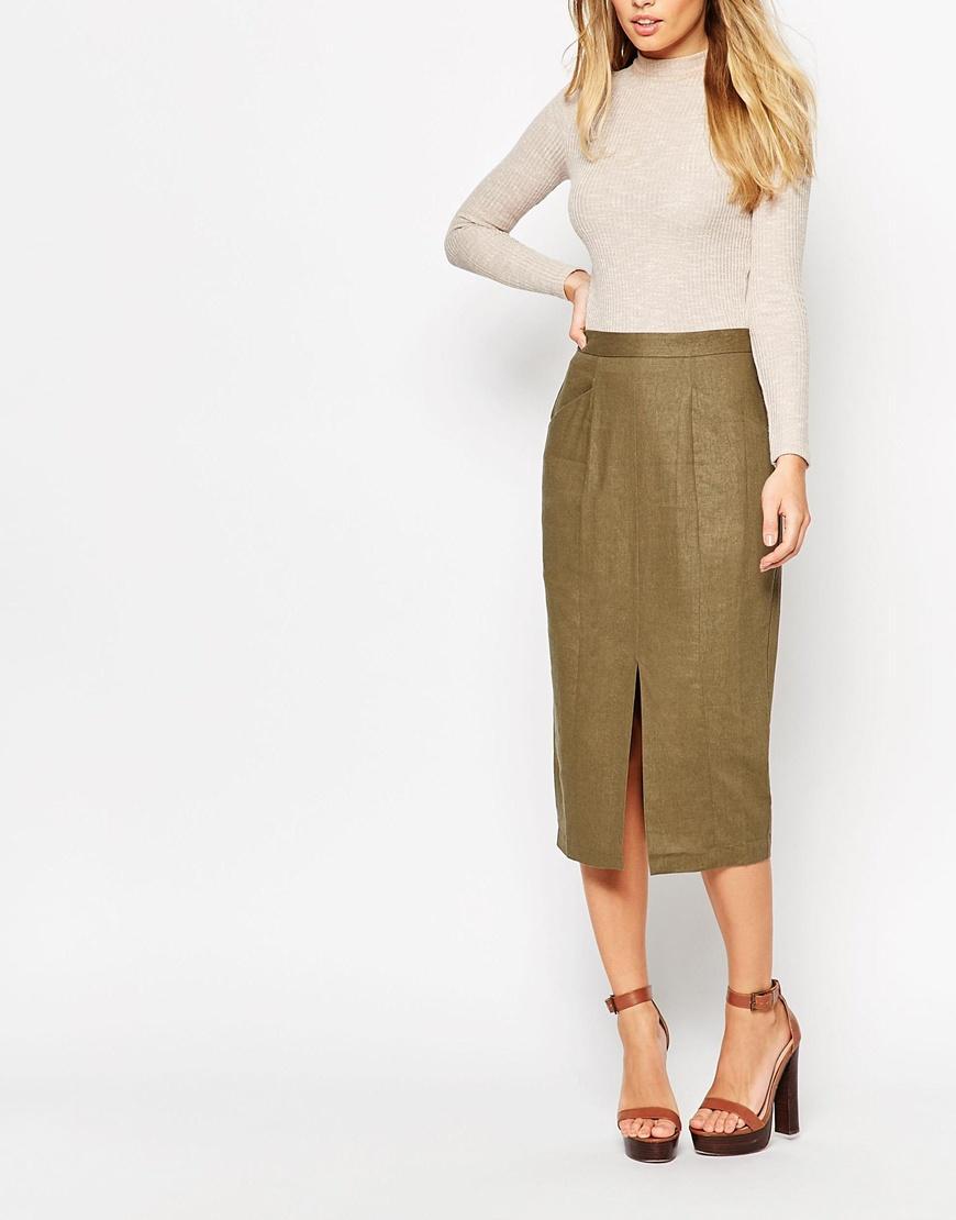 e7e6860564 Linen Split Front Open Pencil Skirt For Women - Buy Open Front Skirt ...