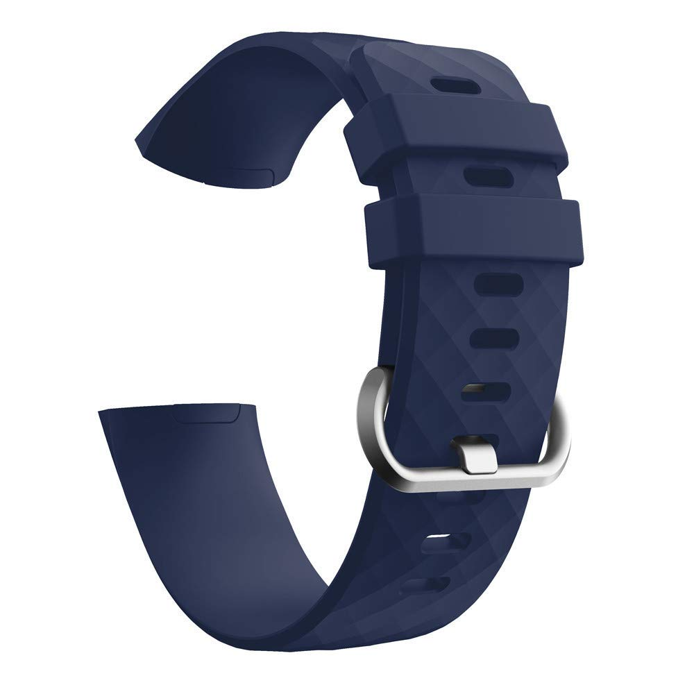 for Fitbit Charge 3 Bands, Silicone Replacement Sport Band for Fitbit Charge 3 Fitness Activity Tracker Smart Watch Women Men Large Small (Navy)