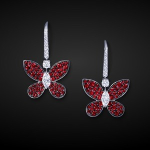 red butterfly stud earrings ruby cubic zirconia wholesale fine fantasy jewelry earring