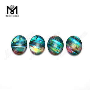 Oval Cabochon Green Glass Ammolite Fake Gemstones for wholesale