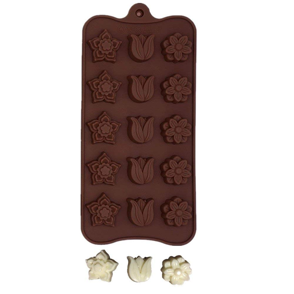 Youzpin Variety Flower Shaped Chocolate Making Molds 1Pcs 15-cell Brown,Kitchen DIY Heating Frozen Food Mould,Ice Cube, Candy, Pudding, Cake Decorating Creative Baking Tool