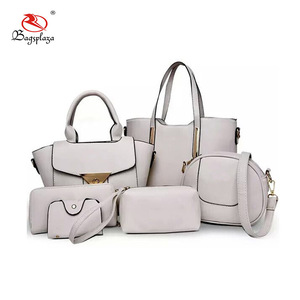 13c0fbd4b4 Alibaba China customized white PU 6pcs bag purse handbag set