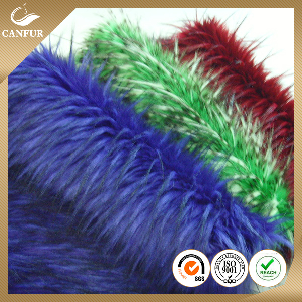 100% Acrylic Artificial Fur Tip-dyed printed long pile faux fur fabric