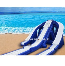 China Opblaasbare PVC Blauw Water Slide
