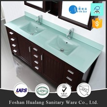 hot sale UPC Double sink rectangle bowl glass bathroom countertop