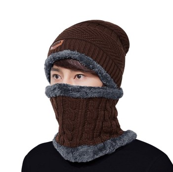 a977348d06c72 Hot Sell Knitting Hat Scarf Set Solid Color Warm Cap Scarves Winter Outdoor  Fleece Lined Mens