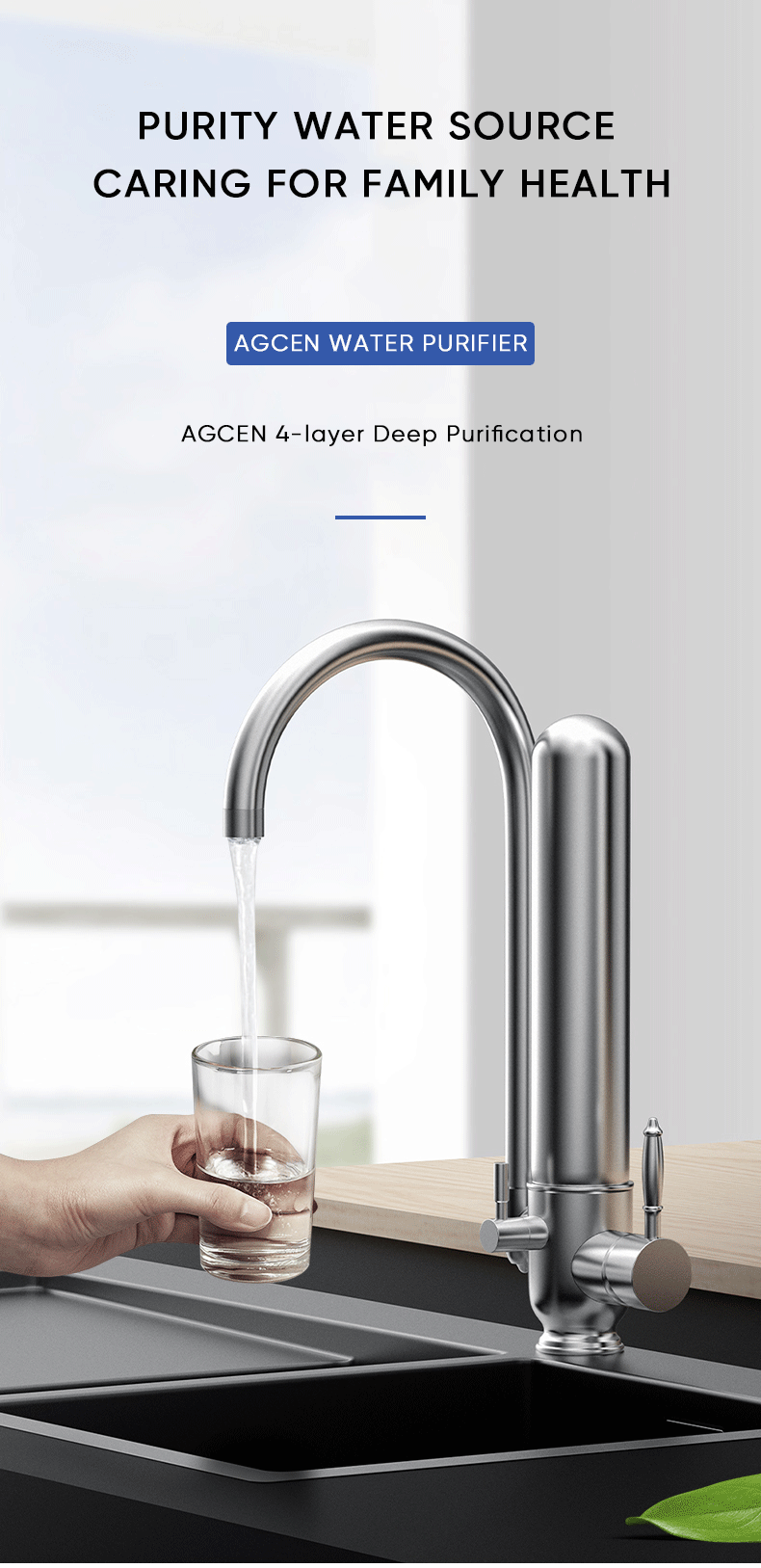 Agcen stainless steel desktop tap water filter purifier for home