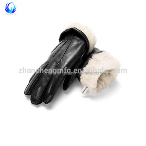 Hot sale Winter warm Ladies Leather cycling Glove With Acrylic Lining Black