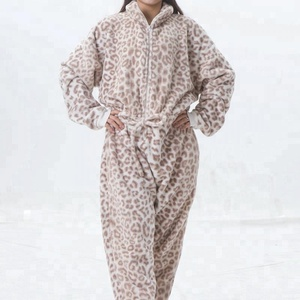Warm Thick Leopard Printed Cheap Wholesale Animal Adult Onesie
