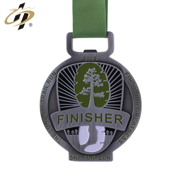 Custom logo enamel metal sports medals and trophies with ribbon