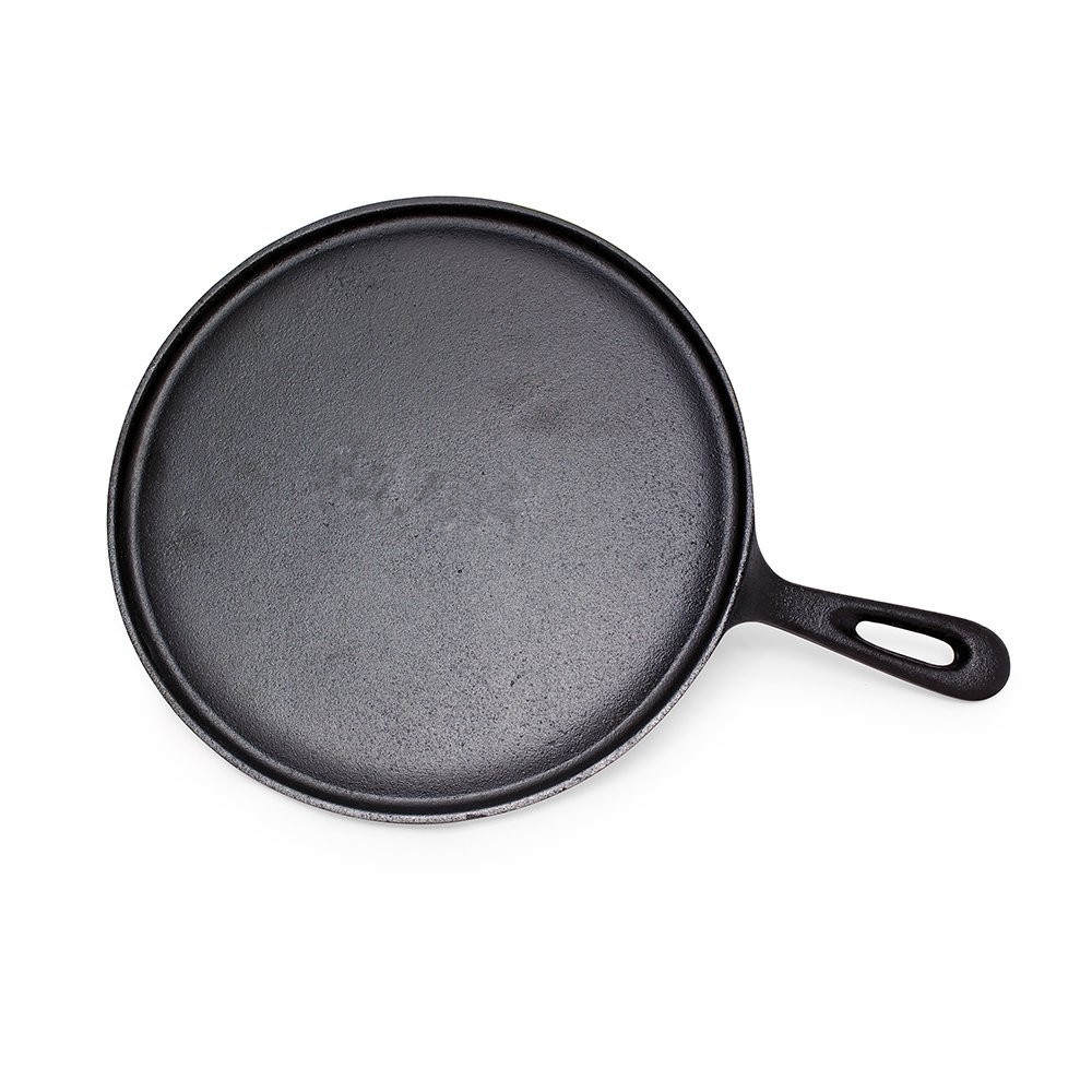 "10.25"" pre-seasoned cast iron skillet platter round cast iron griddle"