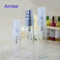 Mini Size 2ml 5ml 10ml Clear Glass Test Perfume Bottle Refillable Perfume Spray Bottle going with Silver/White Sprayer