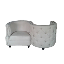 Baroque grey velvet Fabric restaurant sofa For Living Room And Waiting room