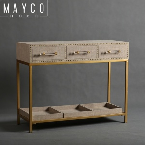 Mayco French Acrylic Hotel Gold Modern Metal Base Rectangular Console Table With Drawer Leather