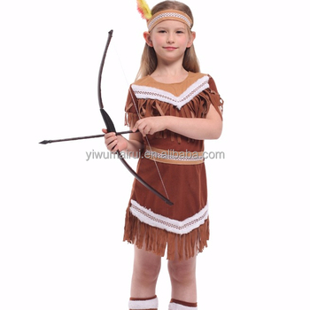Beautiful Indian Princess Party Carnival Funny Girls Indian Costume For Kids