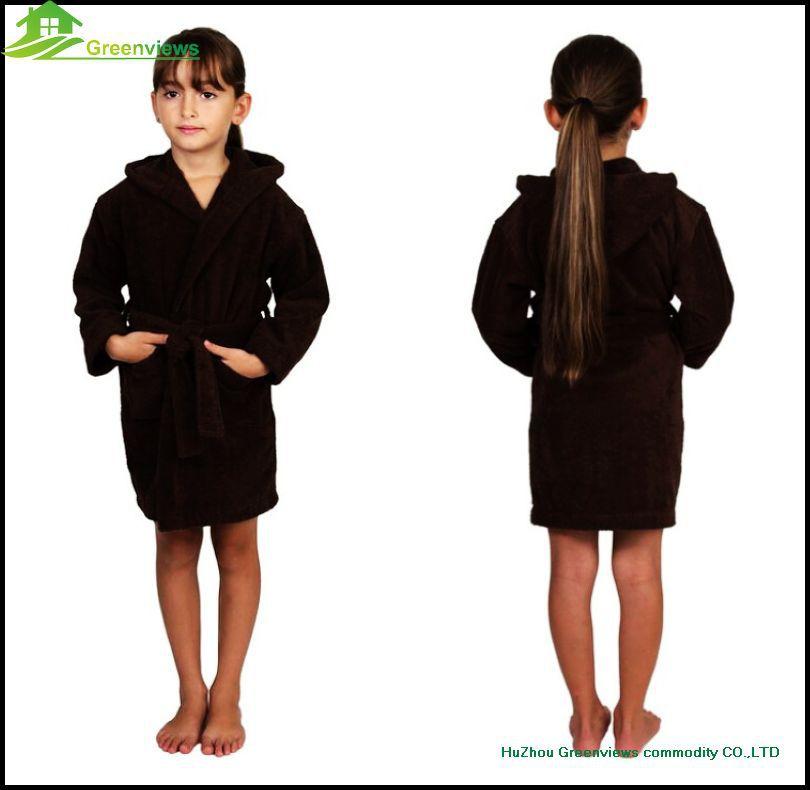 Coral Fleece Children Hood Bathrobe Kids Polyester Nightwear Boys ...