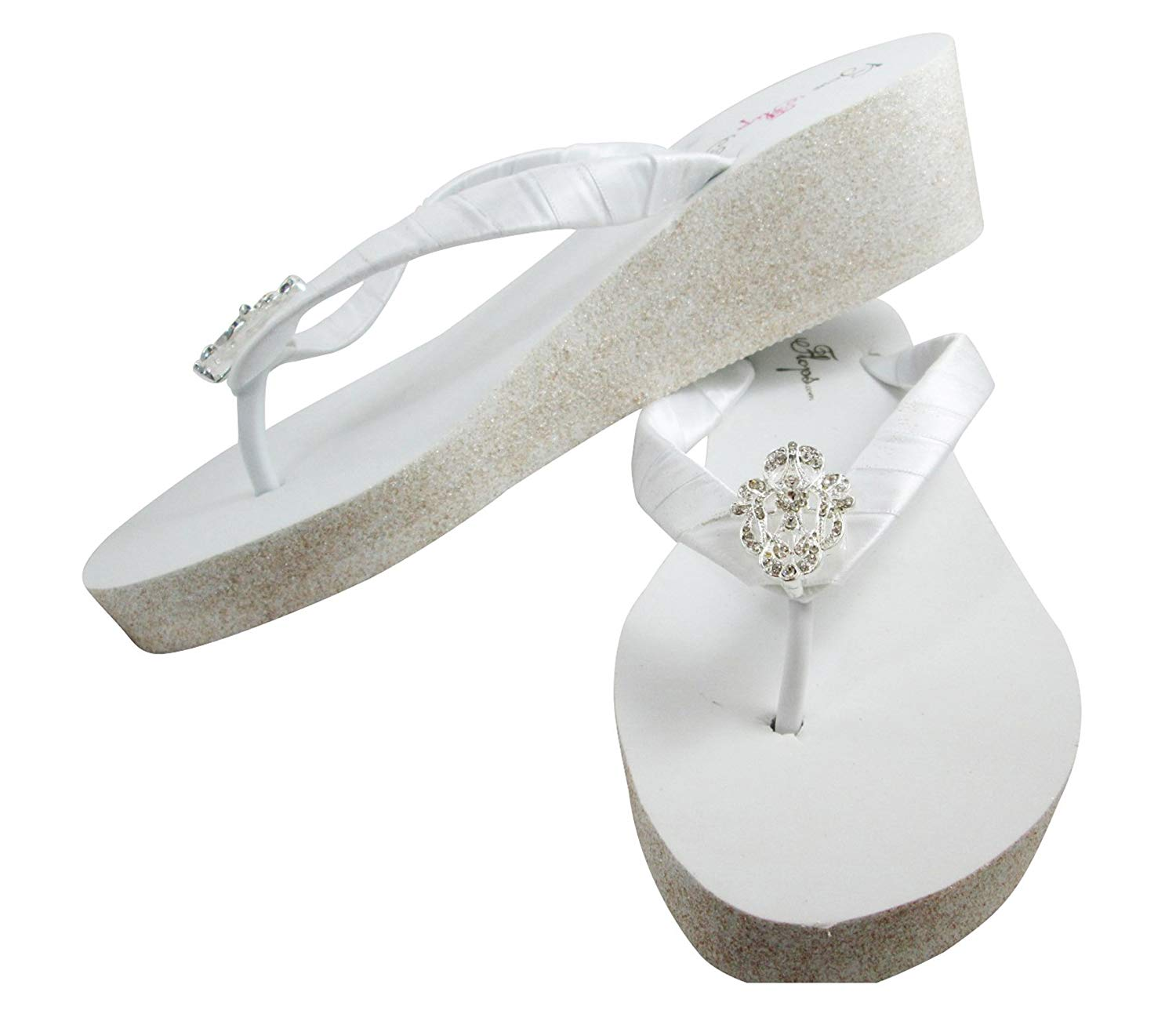 76f3134f18edb Buy Bridal Flip Flops Bride Bling Glitter Wedge Wedding Platform ...