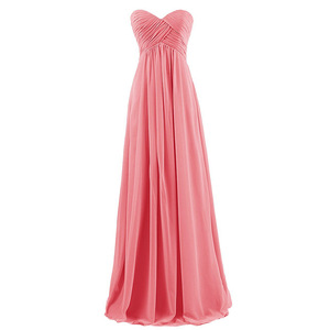 2019 Fashion Strapless Pleated Chiffon Evening Dress Ladies Evening Gown