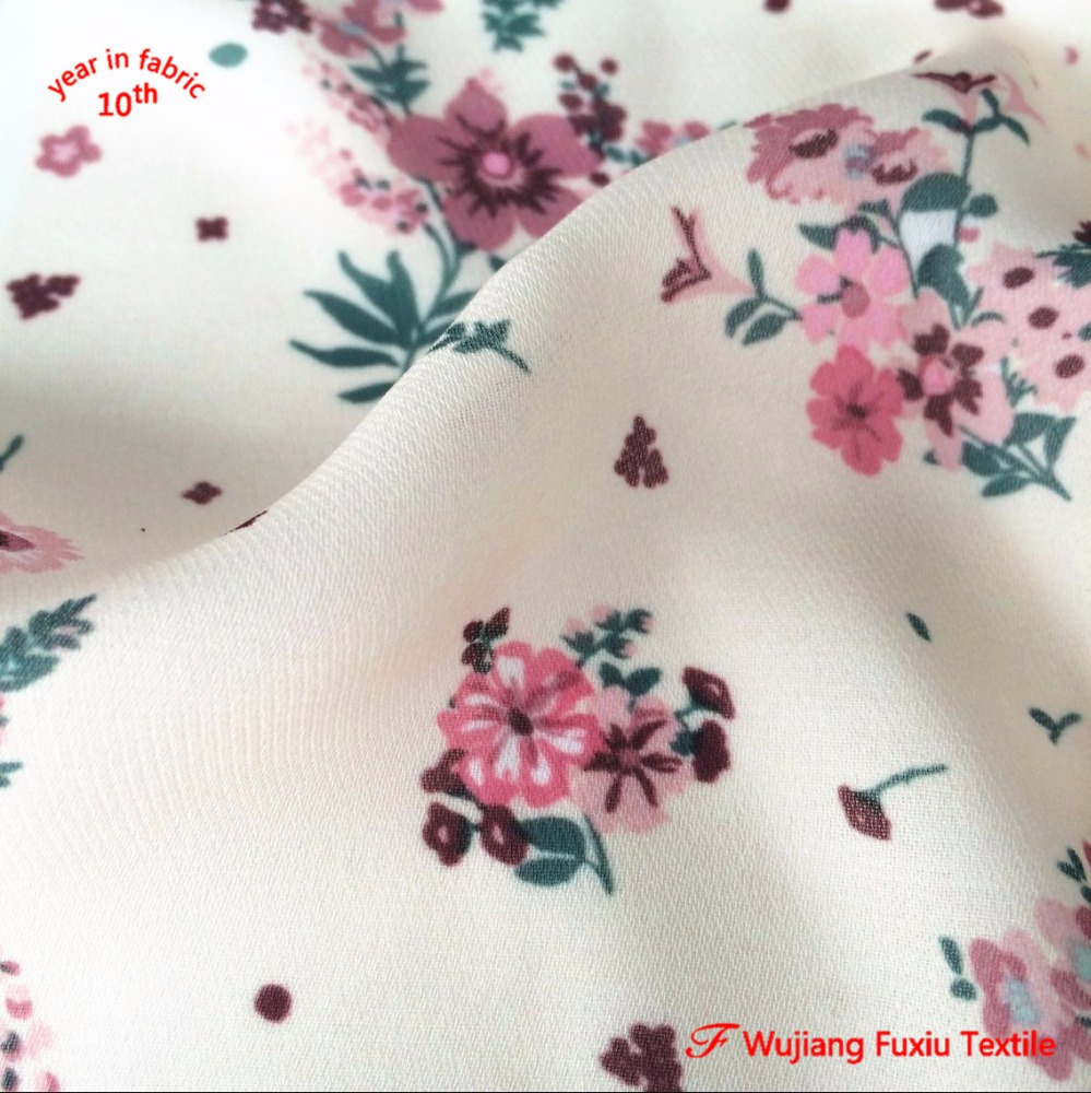 2017 new products 2 layers composition 100% polyester printed twill chiffon fabric price per metre