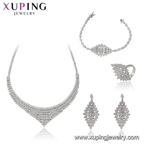 Set-97 Xuping crystal white gold color dubai gold women necklace earring ring bracelet Jewelry sets