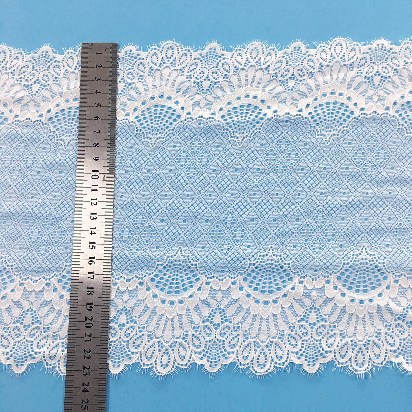Factory sale wide chantilly swiss elastic eyelash lace