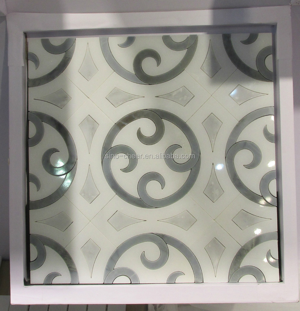 water jet marble mosaic border tile for decor the hotel lobby