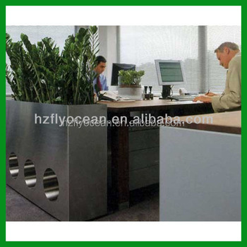 office planter. FO-9018 Large Rectangular Decorative Stainless Steel Office Planter