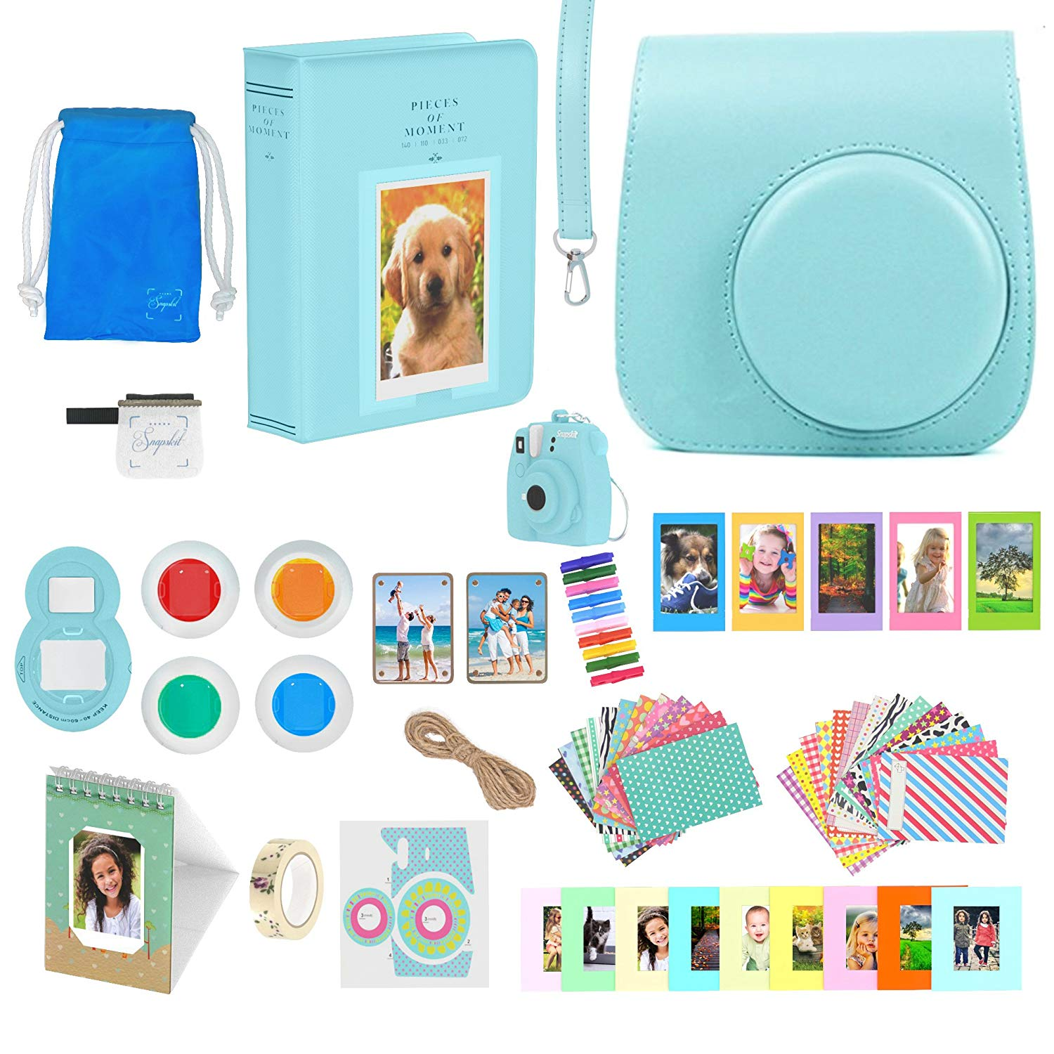 Fujifilm Instax Mini 9 Accessories Bundle - 16 Piece Kit Includes: Ice Blue Protective Case + Strap, 2 Photo Albums, Keychain, Emoji Stickers, Hanging Frames, Selfie Lens, Magnets, Gift Box