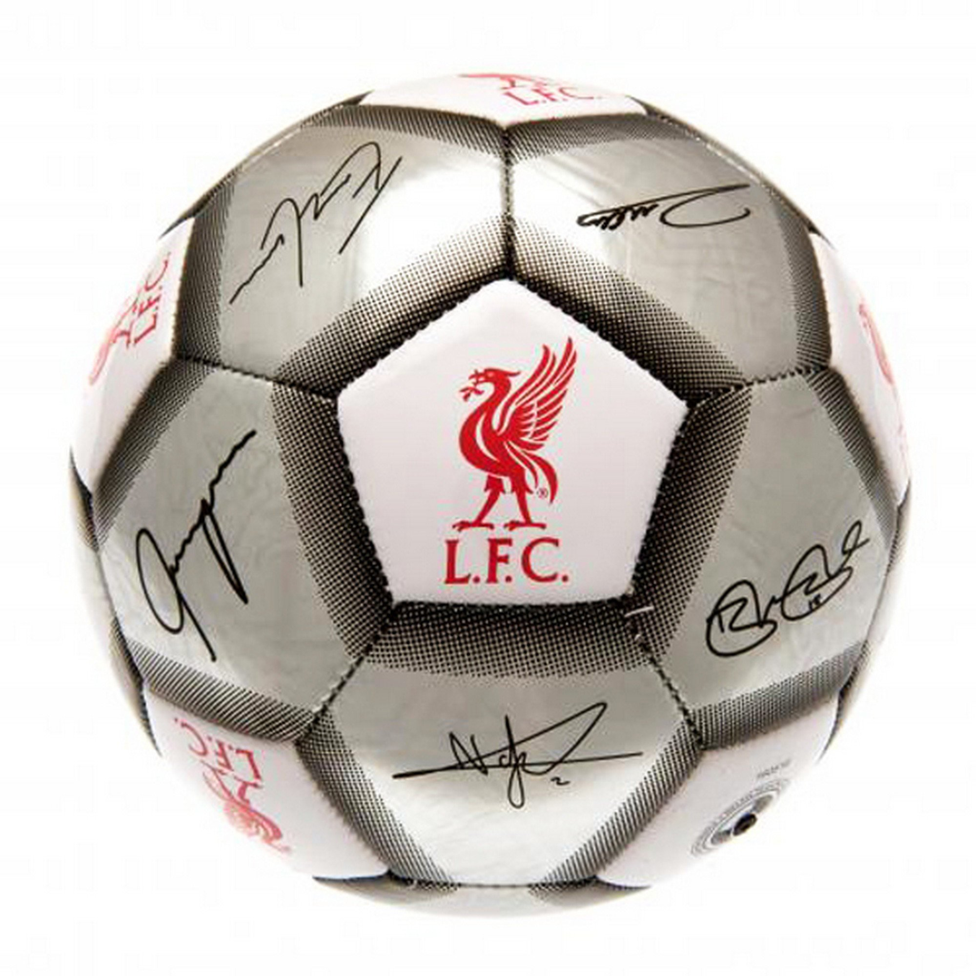 Liverpool FC Official Silver Signature Crest Football/Soccer Ball (Size 5)