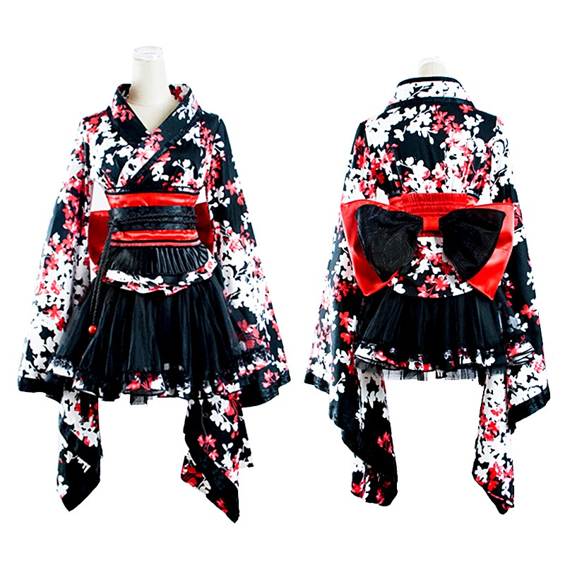 LQ-001 Lolita Japenese Sweet Beautiful Three-piece Kimono Dress With Big Ribbon Belt