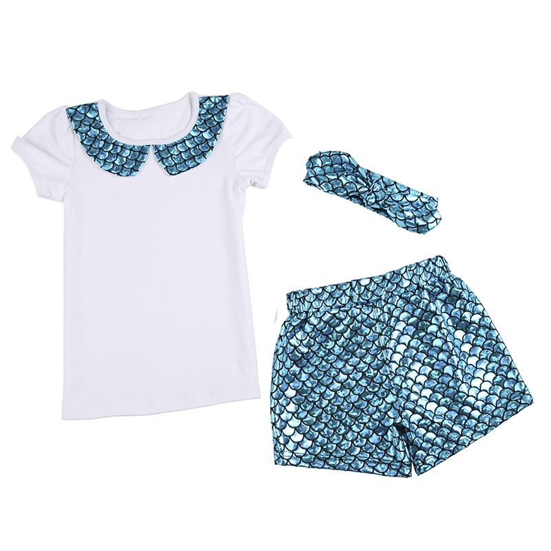 Hot Sale Toddler Baby Fish Scale Clothing 3 Pieces Set Pure White Tops And Fish Scale Short With Headband