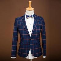 Plaid Notch Lapel Business Suits For Men