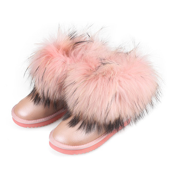 fashion pink with fur on the top sheepskin ankle height snow boots warm up for women