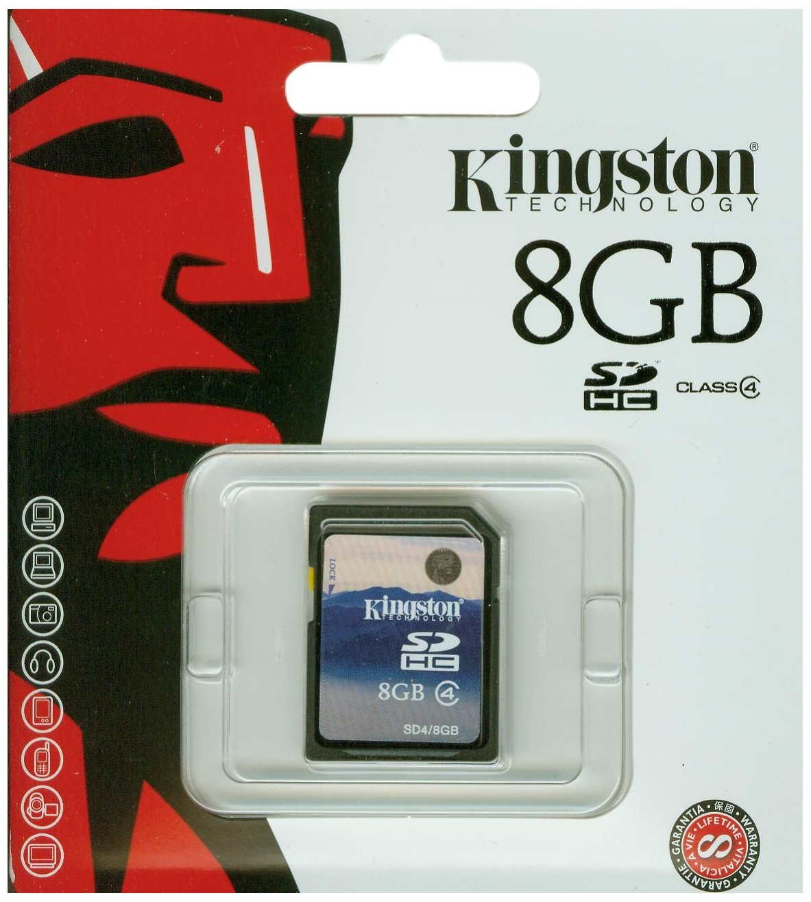 Kingston 8 GB Class 4 SDHC Flash Memory Card SD4/8GB