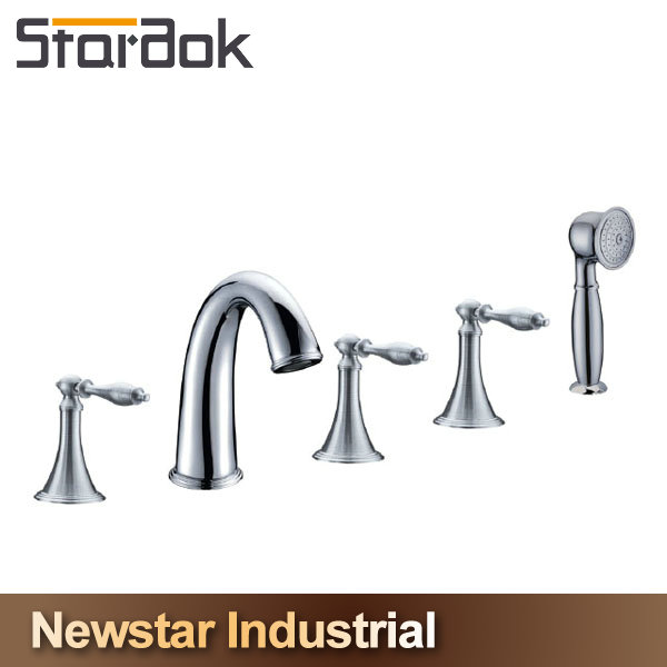 5 Hole Deck-Mount Roman Hardware Faucet with Handheld Shower in Brushed Nickel