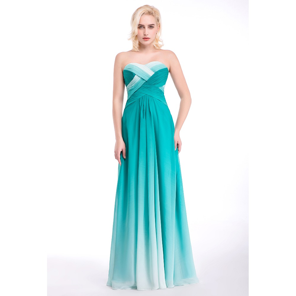 Discount Evening Dress: Hot Sale Cheap Gradient Blue Prom Dresses Fast Delivery