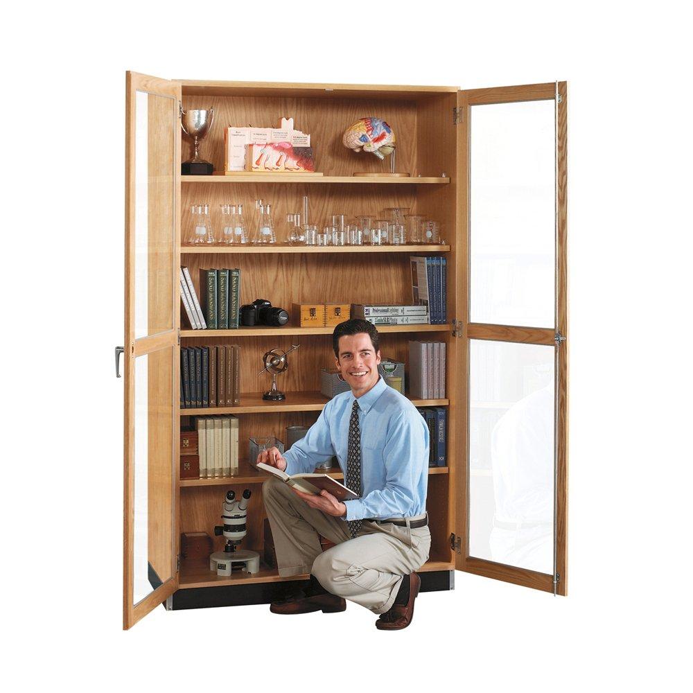 "Diversified Woodcrafts 358-4822 UV Finish Solid Oak Wood Glass Wall Storage Case, 48"" Width x 84"" Height x 22"" Depth"