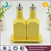 Yellow Ceramic Oil and Vinegar Bottle