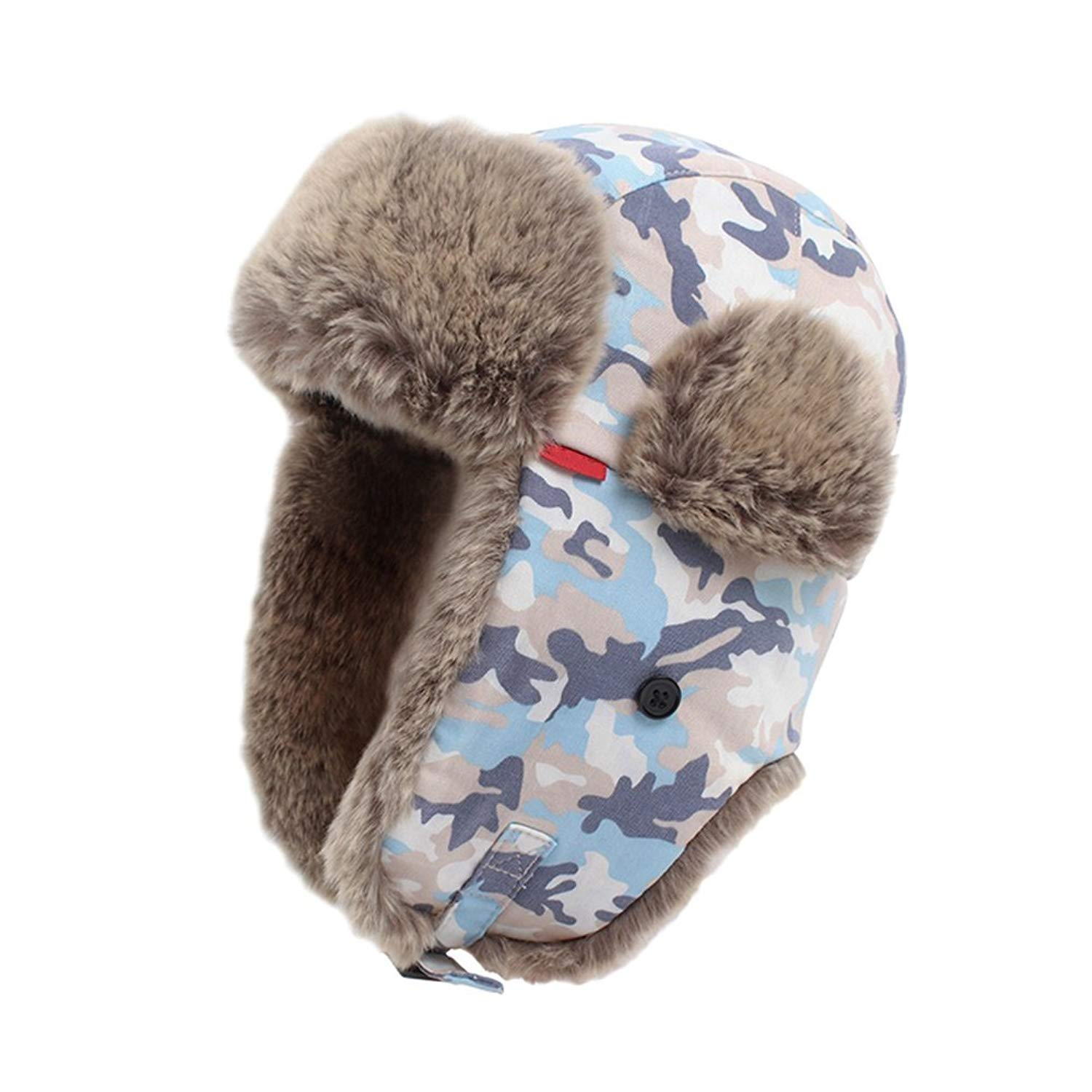 dffa1100 Get Quotations · Messagee Camo Ski Hat With Foldable Ear Flaps, Windproof  Warm Cap Aviator Hat