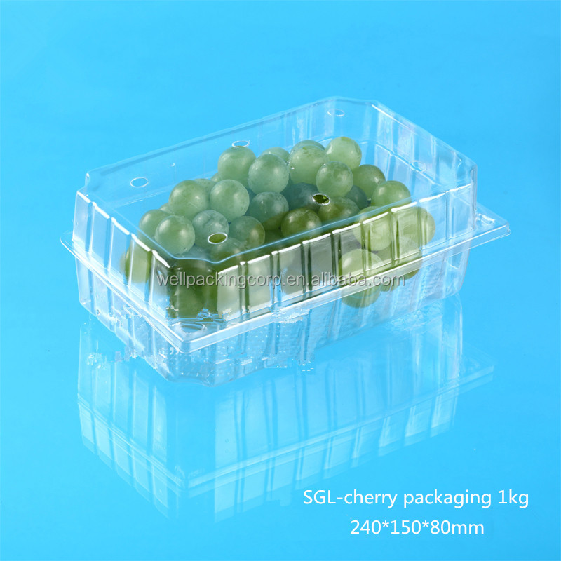 high quality disposable pet plastic packing fruits container with hinged lid for fruits and vegetable