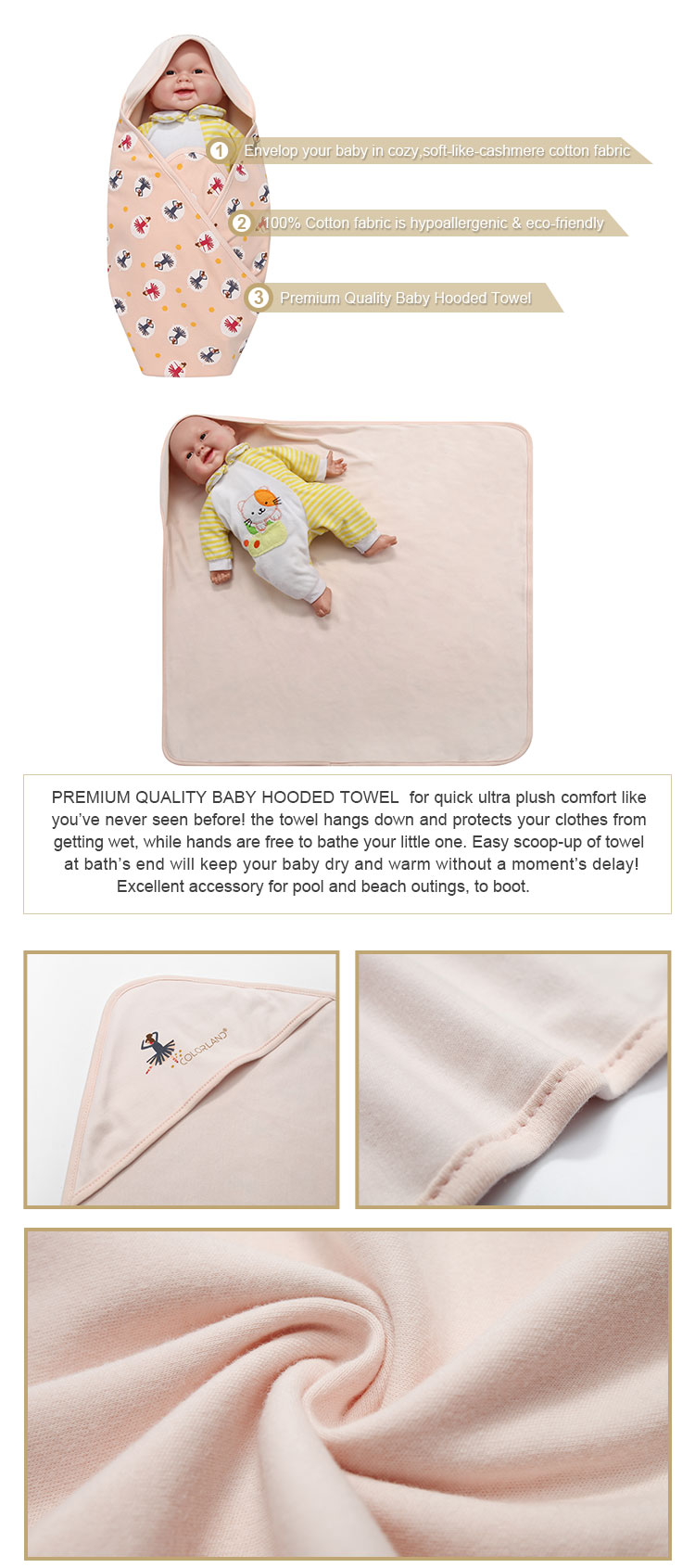 swaddling clothes with hood,cotton 100% Hooded Baby swaddle blanket