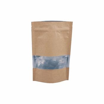 High Quality Wholesaler Silage Packaging Flat Bottom Chocolate Ziplock Brown Kraft Paper Bag With Window