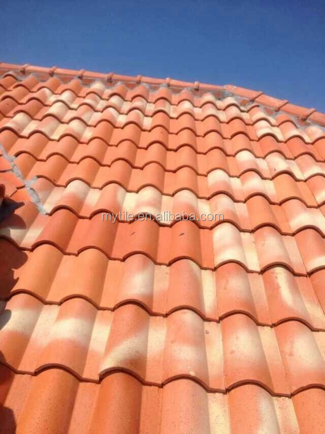 Bright red natural clay spanish roof tiles prices for sale for Buy clay roof tiles online