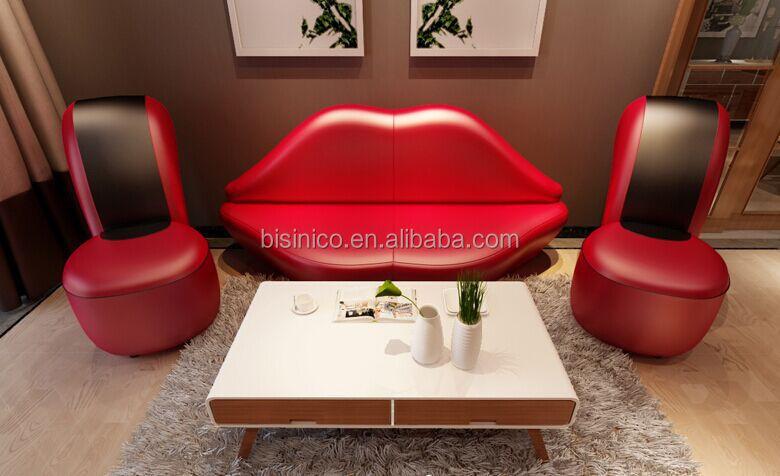 Bisini Creative Red Lip And High Heel Shape Sofa Set For