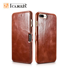 ICARER Real Leather Flip Cover Case for iPhone 7 cover